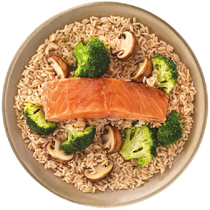 Arròs oriental,salmó,bròquil i bolets