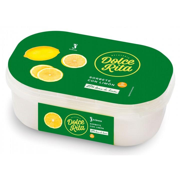 Tarrina helado sorbete con limón