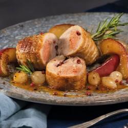 Redondo al horno con salsa de manzana y cebolla perla