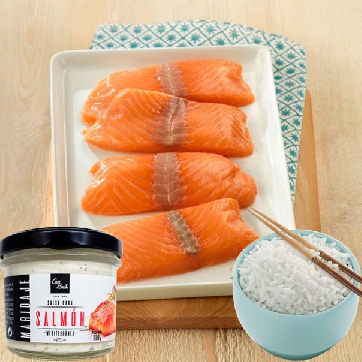 Pack ahorro Lomos de salmón + Salsa para salmón + Arroz blanco Listísimos