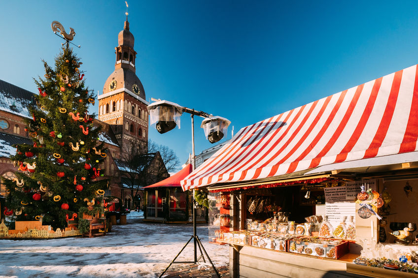 Christmas Market On Dome Square With Riga Dome Cathedral In Riga