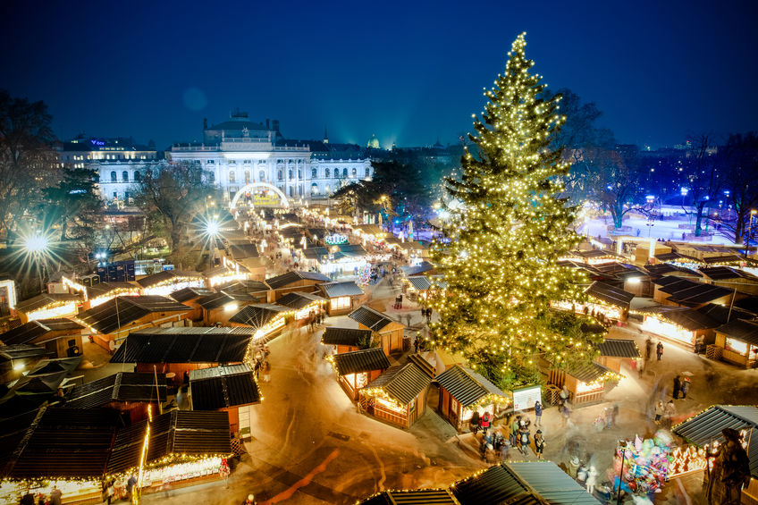 Vienna traditional Christmas Market 2016, aerial view at blue ho